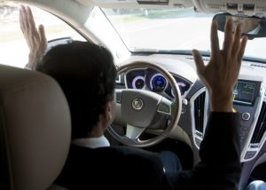 Inside an autonomous vehicle. Image provided by PennDOT.