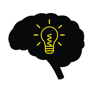 Cognitive Distraction icon — light bulb in brain