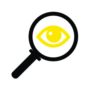 Visual Distraction icon — eye in magnifying glass