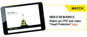 Video call out graphic with link to Head Protection video.