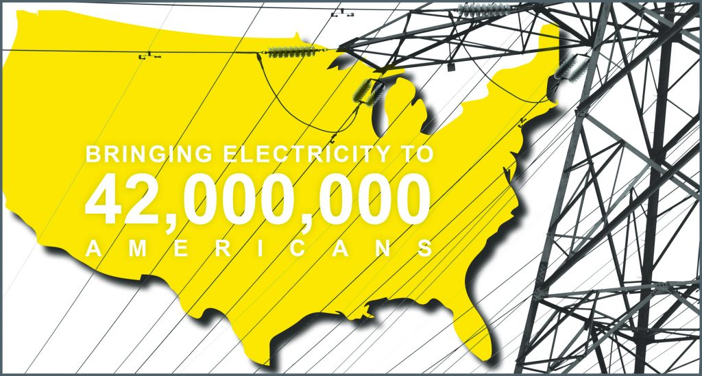 Infographic image of U.S.A. with power lines and text that reads: Bringing Electricity to 42,000,000 Americans.