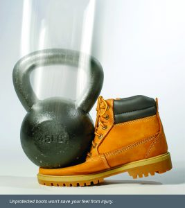 Unprotected boots won't save your feet from injury. A kettle bell falling on non-steel toe boots.