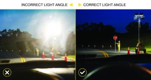 Light tower floodlights shown adding glare to driver's windshield compared to an image that shows no glare from light.