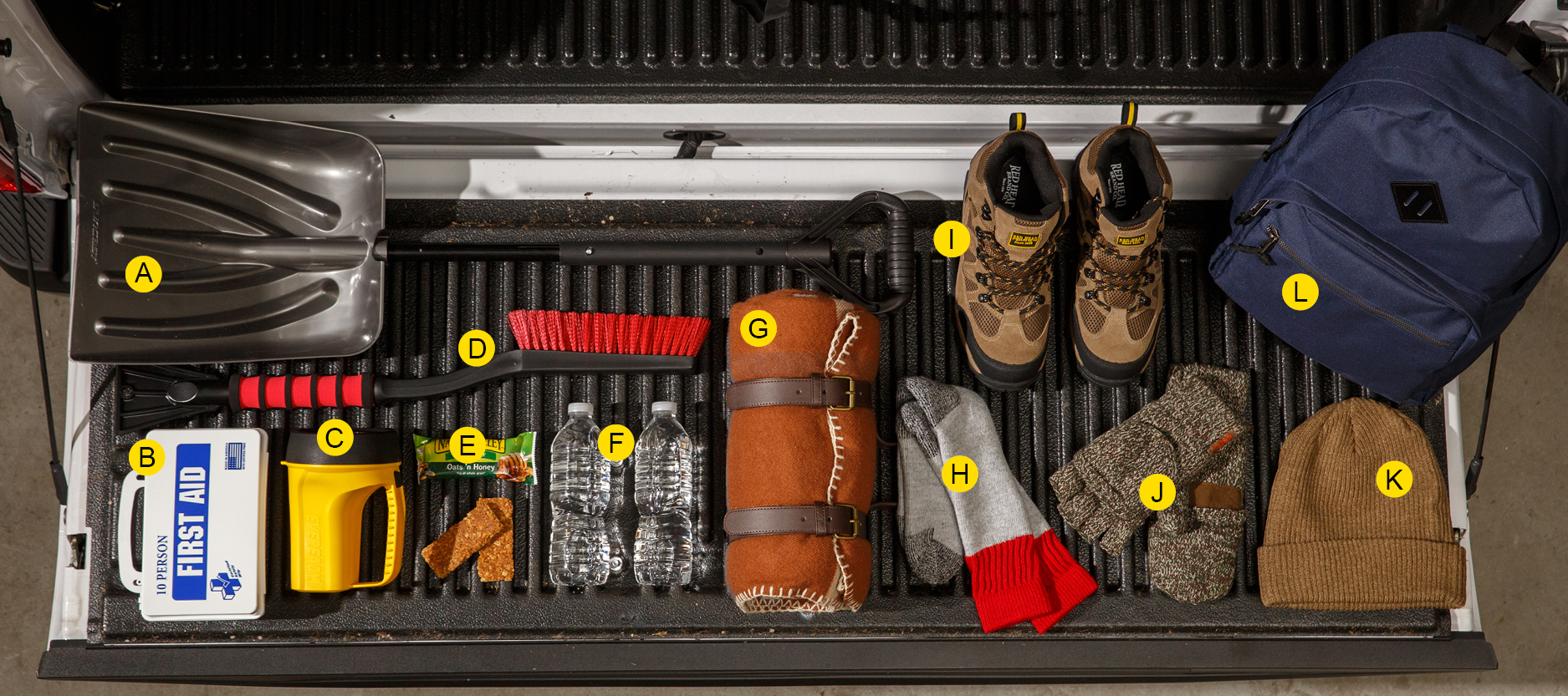 Items to go in a winter emergency kit.