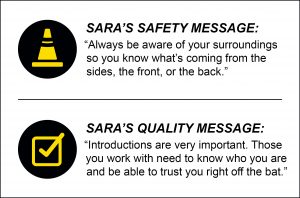 Sara Meyer's safety and quality message graphic.