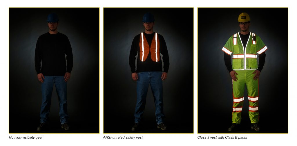 Person wearing no high-visibility gear image vs. wearing ANSI-unrated safety vest image vs. wearing Class 3 vest with Class E pants.